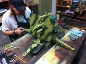 Scott Carter applying camo pattern