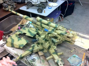 Applying brown to the 88mm German Flak Gun
